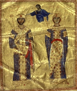 Istorija odevnih predmeta - Page 4 Emperor-and-empress-in-full-regalia-both-with-the-loros-nicephorus-iii-and-maria-of-alania-1074-81