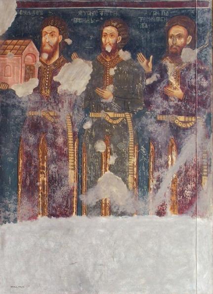 Župan Stefan sa bratom i ocem, Dobrun (XIV vek). Donji deo tunike je prorezan napred i sa strane kako bi se olakšalo jahanje.