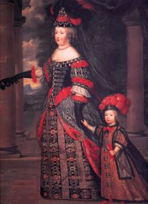 Istorija odevnih predmeta - Page 6 Ca-1666-maria-theresa-wife-of-louis-xiv-with-her-son-dauphin-louis-of-france-by-pierre-mignard