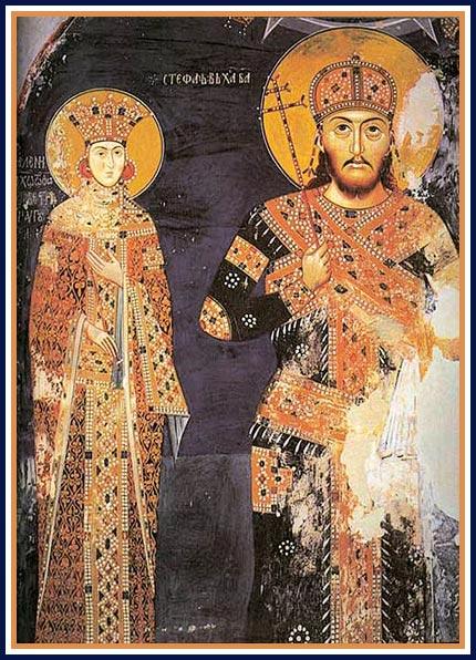 Moda  u Srbiji kroz vekove Car_dusan_i_carica_jelena_manastir_lesnovo_xiv_vek-2