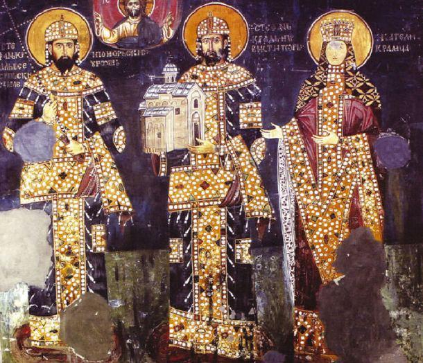 Kralj Milutin, kralj Dragutin i kraljica Katalina, crkva Sv.Ahilija, Arilje (XIII vek)