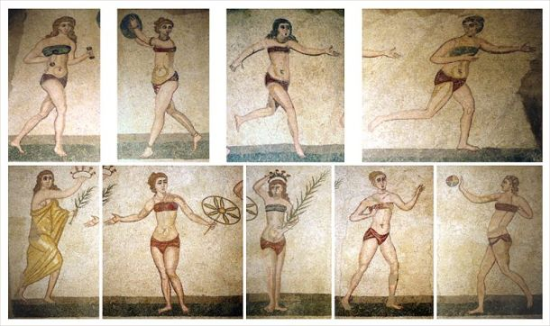 Women practicing at a gym (Villa Romana del Casale) mosaic of ten women athletes (known as the 'Bikini Girls mosaic', 4th century A.D.). Detail. The winner is crowned with a wreath.