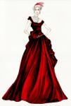 Anini kostimi su u tonovima bogare crvene, purpurne i crne. Na slici je skica za grimiznu balsku haljinu koju nosi plešući sa Vronskim, dok svi bruje o njihovoj aferi.