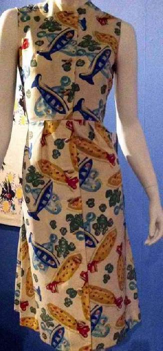"""Haljina iz kolekcije Kler MekKardel, 1955, Sa Pikasovim dezenom """"Ribe"""""""