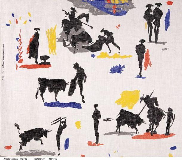 "Pablo Pikaso,""Bikovi i toreadori"", tkanina rađena za Bloomcraft 1963."