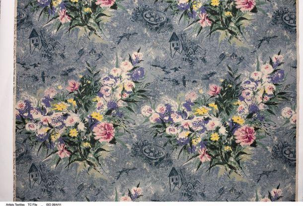 "Mark Šagal, ""Lepo cveće"", dekorativna tkanina za  Fuller Fabrics, oko 1956."