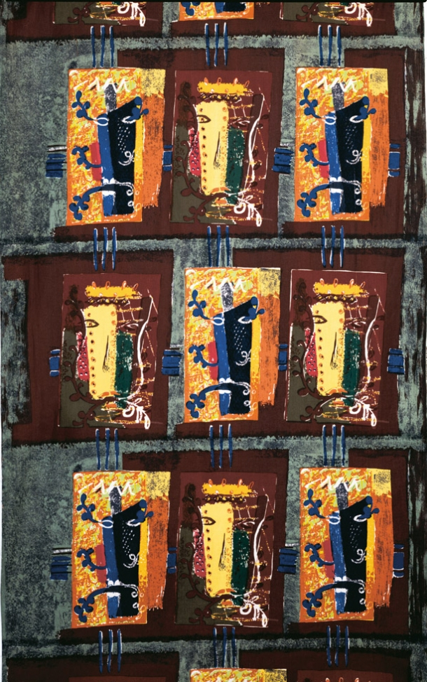 'Foliate Head', designed by John Piper and produced by David Whitehead Ltd in 1954. Piper's original painting for this textile was exhibited in 'Painting into Textiles' in 1953. Foliate Heads were a favoured theme for Piper, who used them in scarf, rug and tapestry design throughout his career.