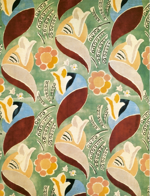 Screen-printed velvet furnishing textile, designed by Duncan Grant and intended for use on the P & O liner 'Queen Mary', produced by Allan Walton 1936.