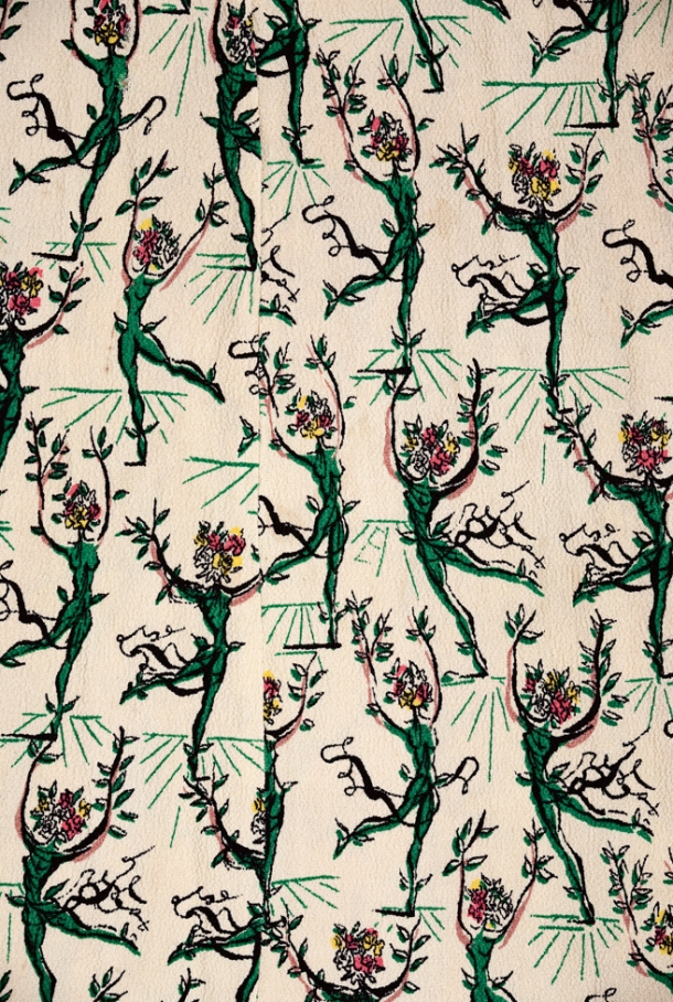 Detail of 'Flower Ballet' a textile designed by Salvador Dali, circa 1947, printed by Wesley Simpson on their 'Pebble Crêpe' rayon, giving this design a further surreal aspect.