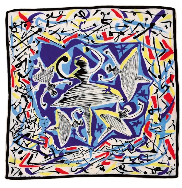 'Ballerina', a screen-printed silk scarf designed by Salvador Dali for Wesley Simpson circa 1947.